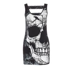 Korte jurk met schedel en bos print zwart - Gothic Metal Rock Grunge