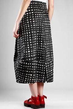 Yukai   long skirt in cotton seersucker with painted bicolour network print   #yukai
