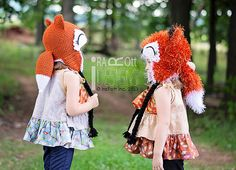 CROCHET PATTERN Moxie and Roxy the Red Forest by IRAROTTpatterns - love the tail on these fox hats