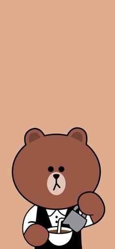 Iphone Wallpaper Bts, Lines Wallpaper, Brown Wallpaper, Mood Wallpaper, Bear Wallpaper, Kawaii Wallpaper, Animal Wallpaper, Wallpaper Backgrounds, Line Brown Bear