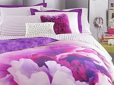 pink and green bedding with large flowers for youth - Google Search