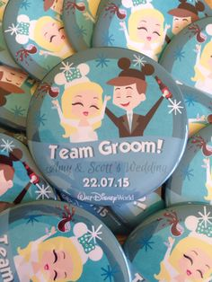 Wicked bride and groom badges to add a extra sparkle to your wedding!