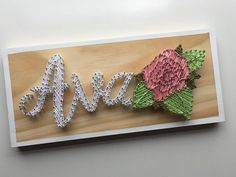 I am loving this custom piece for sweet little Ava Rose . Shop now open - only a couple more places for orders xx . Craft Day, Craft Projects For Kids, Art Projects, String Wall Art, Nail String Art, Adult Crafts, Diy And Crafts, Rose Shop, Wooden Crafts