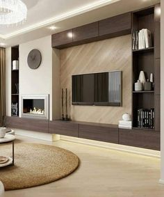 Feature Wall Living Room, Living Room Built Ins, Home Living Room, Living Room Decor Fireplace, Home Fireplace, Fireplace Design, Living Room Tv Unit Designs, Apartment Design, Ideas
