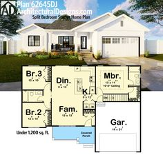 3 Bed House Plan, Under 1,200 square feet of living.