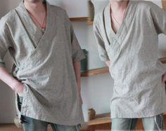 160---Men's Flax Kimono Shirt, Made to Order.