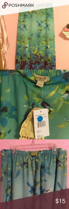 One World Blue Daisy Skirt NWT, Never worn! It's a Small but I promise it fits like a Medium and it has a sturdy elastic that may even stretch into a Large. Soft, chiffon fabric makes it cool and breezy for a nice Spring afternoon. ONE WORLD Skirts Maxi
