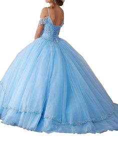 d3abb23493 DKBridal Women s Cap Sleeves Crystals Ball Gowns Tulle Long Quinceanera  Dresses at Amazon Women s Clothing store