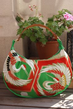 GR186 Gorgeous Cranes Pattern Crescent Bag in by RummyHandmade, $70.00 I can make this for much less!