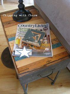 """A few old drawers, some yardsticks, left over bead board pieces and a husband who welds...all added up to a few fun """"new"""" end tables with a """"perfectly imperfect"""" look that suits my style :)"""