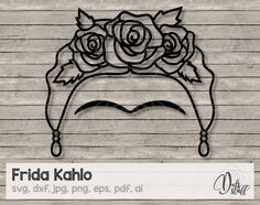 Frida Kahlo svg, Frida Kahlo, Frida Kahlo silhouette, Frida Kahlo cricut, Frida Kahlo archivos de corte, svg, dxf, jpg, png, eps, pdf, ai de DulsStuff en Etsy