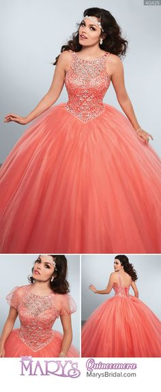 Style Tulle quinceanera ball gown with halter scoop neck line, beading detail on bodice and straps, basque waist line, lace-up back, and matching bolero. From Mary's Quinceanera Fall 2016 Princess Collection Sweet 16 Dresses, Pretty Dresses, Quinceanera Dresses, Homecoming Dresses, Ball Gown Dresses, Evening Dresses, 15 Anos Dresses, Vestidos Color Rosa, Quince Dresses
