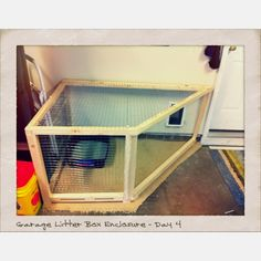 Cat box garage idea. ANOTHER location idea for extra boxes! #litter #cats #CatLitter #CatBox