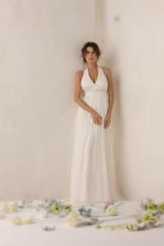 Alluring Sash / Ribbon Halter V-Neck Sheath Empire Wasit Floor Length Chiffon Satin Beach Bridal Gown