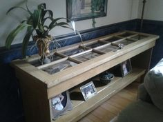 shadow box table made from old french door think it would have been better if the door knob was removed