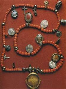 coral beads and relicarios/Possibly Salamanca Spain