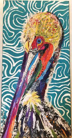 Pelican torn paper collage and more! Paper Collage Art, Collage Art Mixed Media, Collage Artwork, Collage Artists, Paper Art, Magazine Collage, Magazine Art, 8th Grade Art, Art Plastique