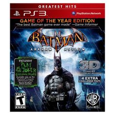 Batman: Arkham Asylum Game of the Year Edition for Playstation 3, Multicolor