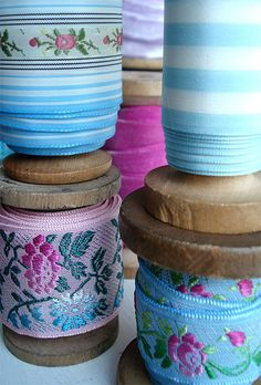Vintage Ribbon Spool Stacks by such pretty things, via Flickr