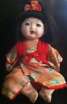 Antique VINTAGE Composition JAPANESE Ichimatsu Iki-Ningyo GOFUN DOLL Asian