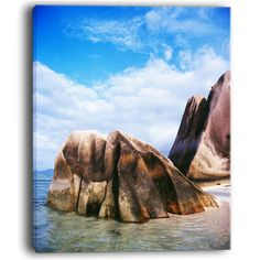 DesignArt Massive Rocks in Seychelles Beach Photographic Print on Wrapped Canvas Size: