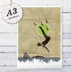Digitaldruck - A3: Sommer! Druck auf Bütten, 30x42cm, Meer, #11 - ein Designerstück von Alles-Deins bei DaWanda