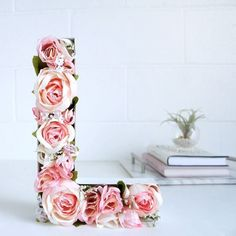 Sweet, stylish, and romantic, this Blooming Monogram DIY allows you to showcase a floral decoration without it going bad! Faux flowers take centerstage in this simple craft project. Diy Valentine's Day Decorations, Valentines Day Decorations, Valentines Diy, Decor Ideas, Valentine Flowers, Gift Ideas, Diy Mothers Day Gifts, Diy Gifts, Homemade Gifts