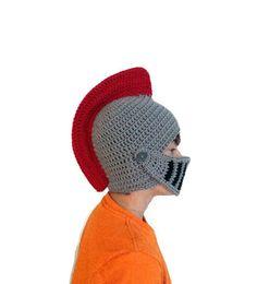 72fe5927dba Trojan Warrior Knight Helmet Hat Crocheted Red and by HoneysGoods