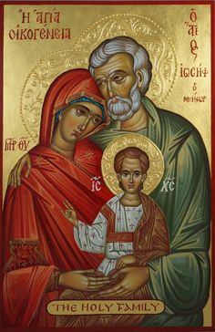 High quality hand-painted Orthodox icon of The Holy Family (halo relief). BlessedMart offers Religious icons in old Byzantine, Greek, Russian and Catholic style. Byzantine Icons, Byzantine Art, Religious Icons, Religious Art, Catholic Art, Catholic Traditions, Roman Catholic, Paint Icon, Christian Artwork