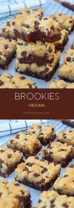 Brookies sans oeufs sans lait {vegan} Lait Vegan, Patisserie Vegan, Gateaux Vegan, Vegan Recipes, Cooking Recipes, Blondie Brownies, Vegan Kitchen, Vegan Cake, Vegan Treats