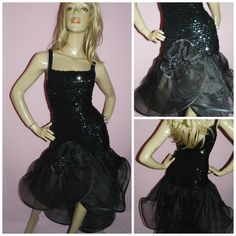 Vintage 80s BLACK Sequin ruffled ORIGAMI Avant Garde prom party dress 12UK 8US M 1980s Extreme Asymetrical by HoneychildLoves on Etsy