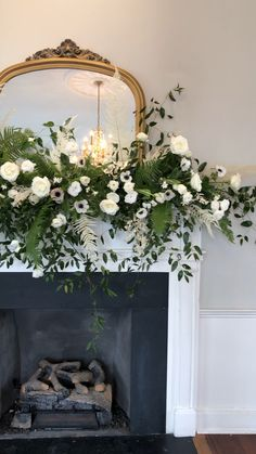 White flowers and greenery as mantle decor for Charleston wedding at Gadsden House by Purple Magnolia Floral Design Simple Wedding Centerpieces, Home Wedding Decorations, Wedding Flower Arrangements, White Flower Centerpieces, Tall Centerpiece, Rustic Centerpieces, Reception Decorations, Rustic Wedding Flowers, Flower Bouquet Wedding