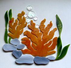 CORAL REEF SEA FAN Precut Stained Glass Mosaic Inlay Kit Nautical Ocean Seascape #RachelKratzer