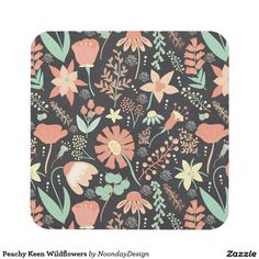 Peachy Keen Wildflowers Beverage Coaster