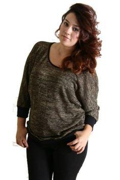 Womens Plus Size Black & Gold Lurex Dolman Style Top