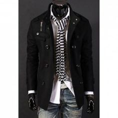 $23.39 Stylish Stand Collar Double Breasted Long Sleeves Woolen Windbreaker For Men