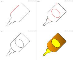 how to draw a glue bottle step by step