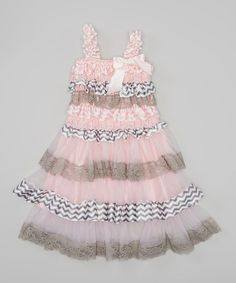 Look at this Pink & Gray Zigzag Ruffle Dress - Infant & Toddler on #zulily today!