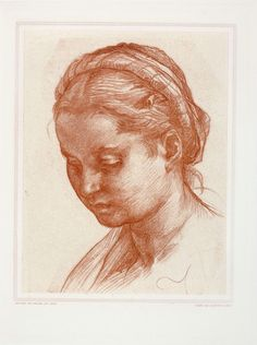 Title - Portrait of Lucrezia Fede  Copperplate Engraving on paper   By A.A. Leroy (1821-1880) d'après (after the work of) Andrea del Sarto 1486–1530) an Italian painter from Florence, whose career flourished during the High Renaissance  Plate Size - 12 in. X 9.25 in.  IDNY Catalog# 10Study12  Please contact mail@idny.biz