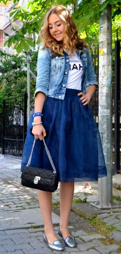 Blue organza skirt
