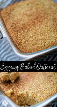 This Eggnog Baked Oatmeal made with five simple ingredients is perfect when feeding a crowd and a festive way to eat breakfast! #breakfast #eggnog #oatmeal