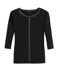 Black Label Trimmed Knit Top