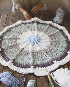 Many of her Crocheted Rugs Crochet Doily Rug, Crochet Mandala Pattern, Crochet Fabric, Fabric Yarn, Crochet Flower Patterns, Crochet Home, Love Crochet, Baby Blanket Crochet, Crochet Stitches