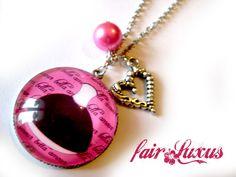 """Auffällige Silberkette mit pink-und schwarzfarbenem Vintage """"Ballerina"""" Anhänger, sowie einer pinken Perle und einem süßen verschlungenen Herzanhänger"""