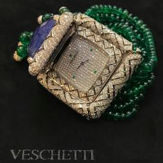 """@veschettijewelsitalia. The majestic """"Royal Green"""" one of a kind bracelet watch that is set with Tanzanite, Emeralds and Diamonds part of #VeschettiCollection"""
