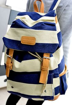 Nautical Stripe School Travelling Bag Backpack