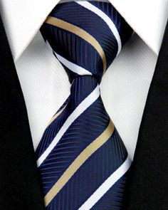 A gorgeous striped tie designed for formal and professional outfits. High quality with great attention to detail. Silk. This tie is wide and designed for professional events (10 cm). Free shipping in