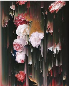 Smears & streaks of pigment reminiscent of visual glitches contrast with realistic flowers in this painting by Gordon Cheung @gordoncheung