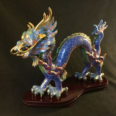 Large Vintage Chinese Cloisonne Dragon with Wood Stand