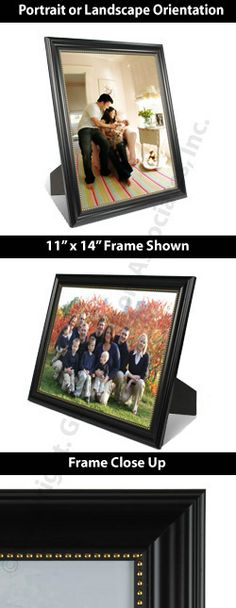 11 x 14 plastic picture frame for tabletop or wall bead like trim black